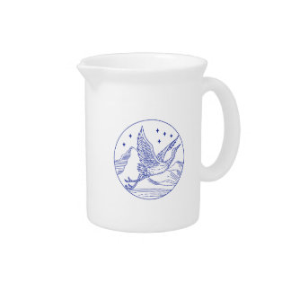 Great Blue Heron Flying Circle Mono Line Pitcher