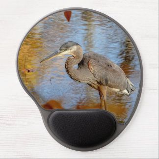 Great Blue Heron framed with fall foliage Gel Mouse Pad
