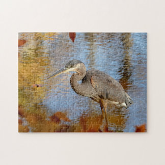 Great Blue Heron framed with fall foliage Jigsaw Puzzle