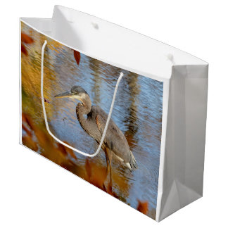 Great Blue Heron framed with fall foliage Large Gift Bag