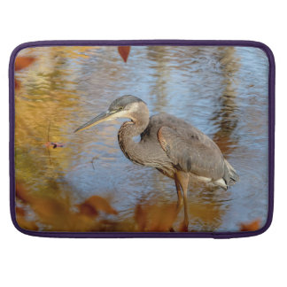 Great Blue Heron framed with fall foliage Sleeve For MacBook Pro