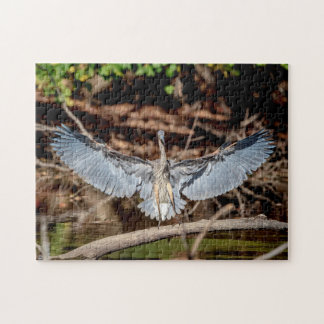 Great Blue Heron on a log Jigsaw Puzzle