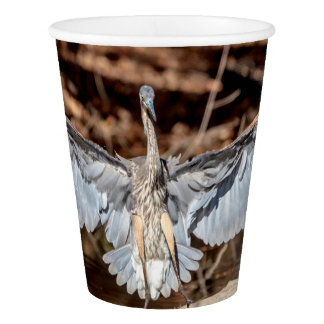 Great Blue Heron on a log Paper Cup