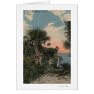 Great Blue Heron on Florida Coast Beach Card