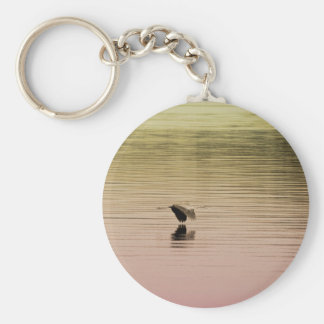 Great Blue Heron on Gradient Background Key Ring