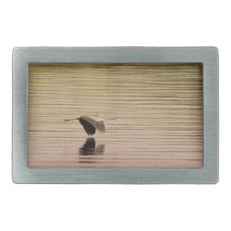 Great Blue Heron on Gradient Background Rectangular Belt Buckles