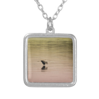Great Blue Heron on Gradient Background Silver Plated Necklace
