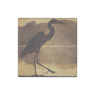 Great Blue Heron on railing Stone Magnet