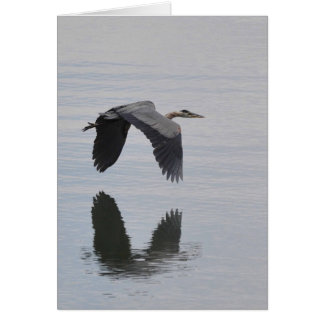 Great Blue Heron Reflected -Frameable Art Card