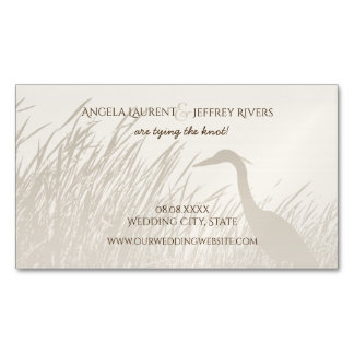 Great Blue Heron rustic wedding save the date Magnetic Business Card
