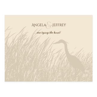 Great Blue Heron rustic wedding save the date Postcard