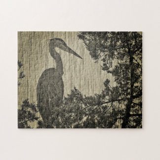 Great Blue Heron Sepia Tone Photographic Art Jigsaw Puzzle