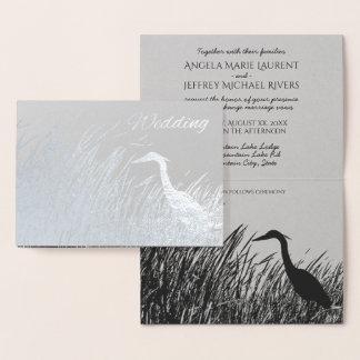 Great Blue Heron silhouette rustic wedding silver Foil Card