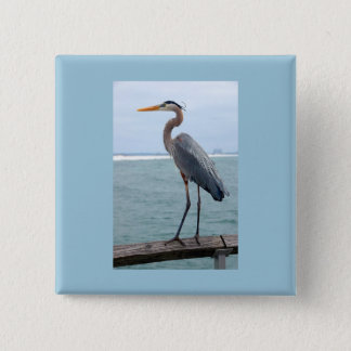 Great Blue Heron Square Button