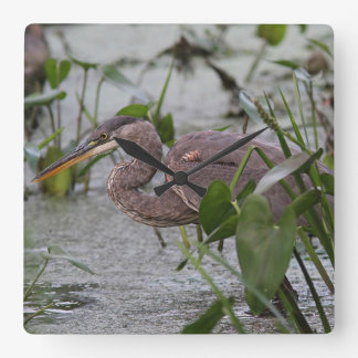 Great Blue Heron Square Wall Clock