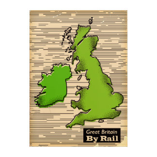 Great Britain By Rail travel poster Acrylic Wall Art