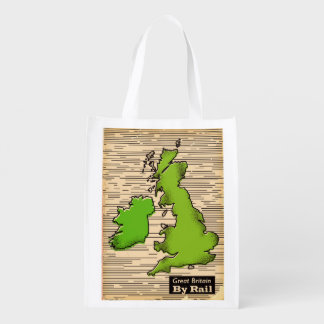 Great Britain By Rail travel poster Reusable Grocery Bag