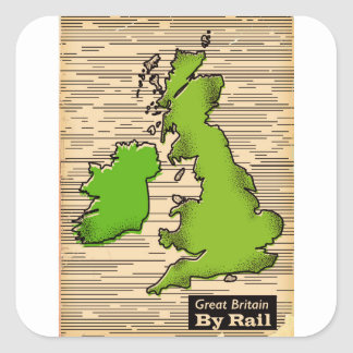 Great Britain By Rail travel poster Square Sticker