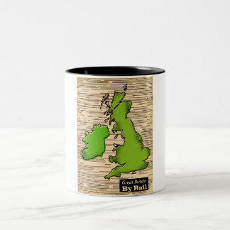 Great Britain By Rail travel poster Two-Tone Coffee Mug