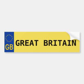 Great Britain E.U. License Plate Sticker Bumper Sticker