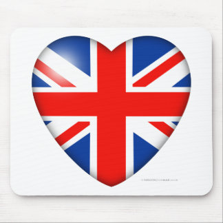 Great Britain Flag Heart Mouse Pad