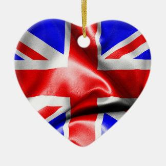 Great Britain Flag Heart Shape Christmas Ornament