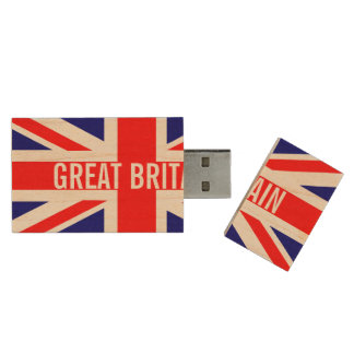 Great Britain Flag Wood USB 2.0 Flash Drive