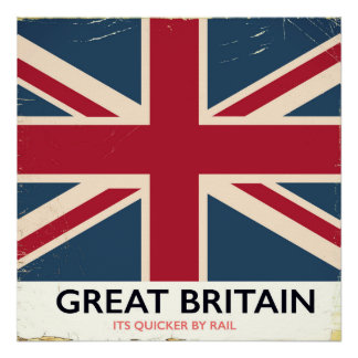 """Great Britain """"Its quicker by rail"""" vintage poster"""