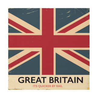 "Great Britain ""Its quicker by rail"" vintage poster"