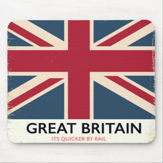 "Great Britain ""Its quicker by rail"" vintage poster Mouse Pad"