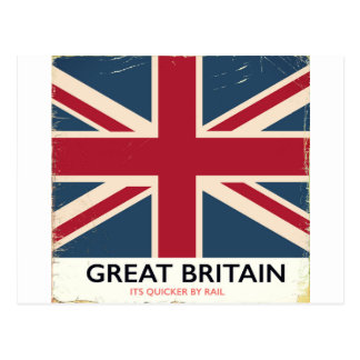 """Great Britain """"Its quicker by rail"""" vintage poster Postcard"""