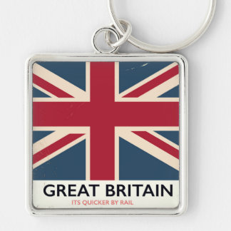 """Great Britain """"Its quicker by rail"""" vintage poster Silver-Colored Square Key Ring"""