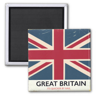 """Great Britain """"Its quicker by rail"""" vintage poster Square Magnet"""