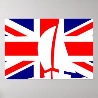 Great Britain U.K. Flag Sailing Yacht Print