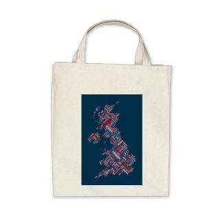 Great Britain UK City Text Map Bags