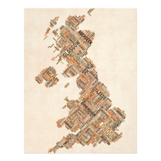 Great Britain UK City Text Map Full Color Flyer