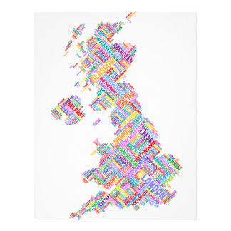 Great Britain UK City Text Map Personalised Flyer
