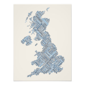 Great Britain UK City Text Map Photo Print