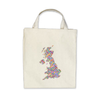 Great Britain UK City Text Map Tote Bags