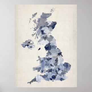 Great Britain UK Watercolor Map Poster