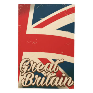 Great Britain vintage style travel poster Wood Print