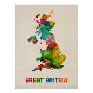 Great Britain Watercolor Map Poster