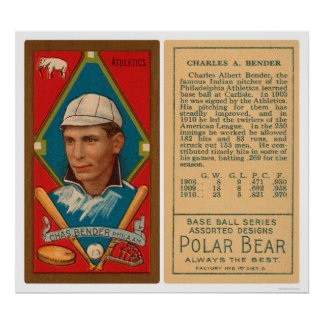 Great Chief Bender Athletics Baseball 1911 Poster