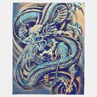 Great Chinese Emperor Dragon Airbrush Fleece Blanket