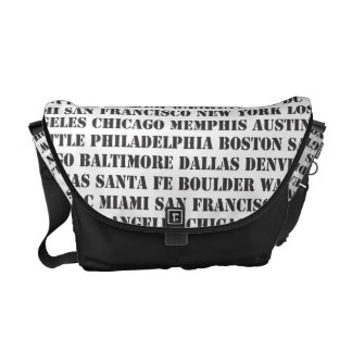 Great Cities of the US in Black & White Courier Bags