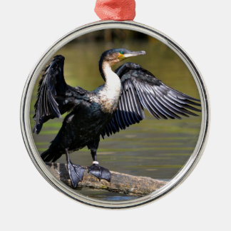 Great Cormorant with opened wings Metal Ornament