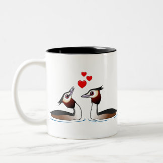 Great Crested Grebes in Love Two-Tone Coffee Mug