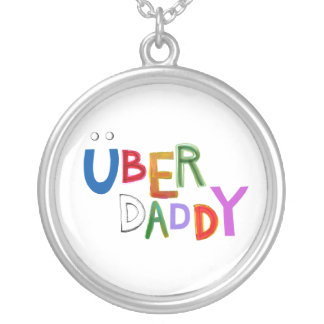 Great dad uber father good super fun art words personalized necklace