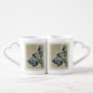 Great Dane (Brindle) Painting - Original Dog Art Coffee Mug Set