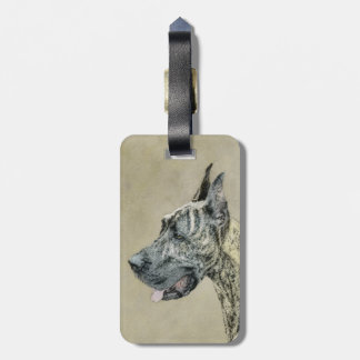 Great Dane (Brindle) Painting - Original Dog Art Luggage Tag